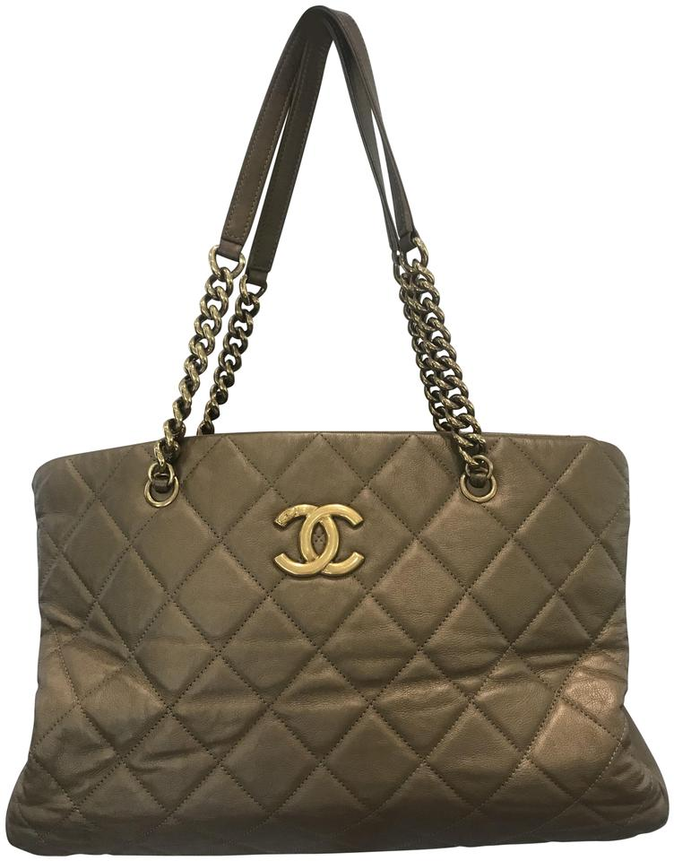 Chanel Calfskin Quilted Small Cc Crown Tote Gold Leather Shoulder ... 61bf3417599ab