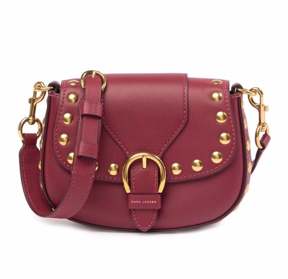 aed9082a61b Marc Jacobs Small Studded Navigator Saddle Red Leather Cross Body Bag 32%  off retail