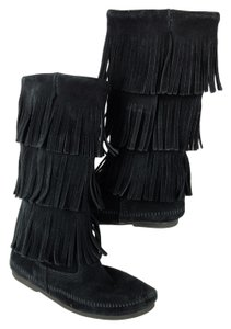 Minnetonka Suede 3 Layer Fringe Pull On Moccasins Black Boots
