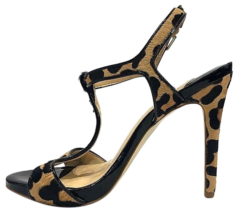 40b78f541f46 Gianni Bini Patent Leather Leopard Cow Black Hair Heels T-strap 6 ...