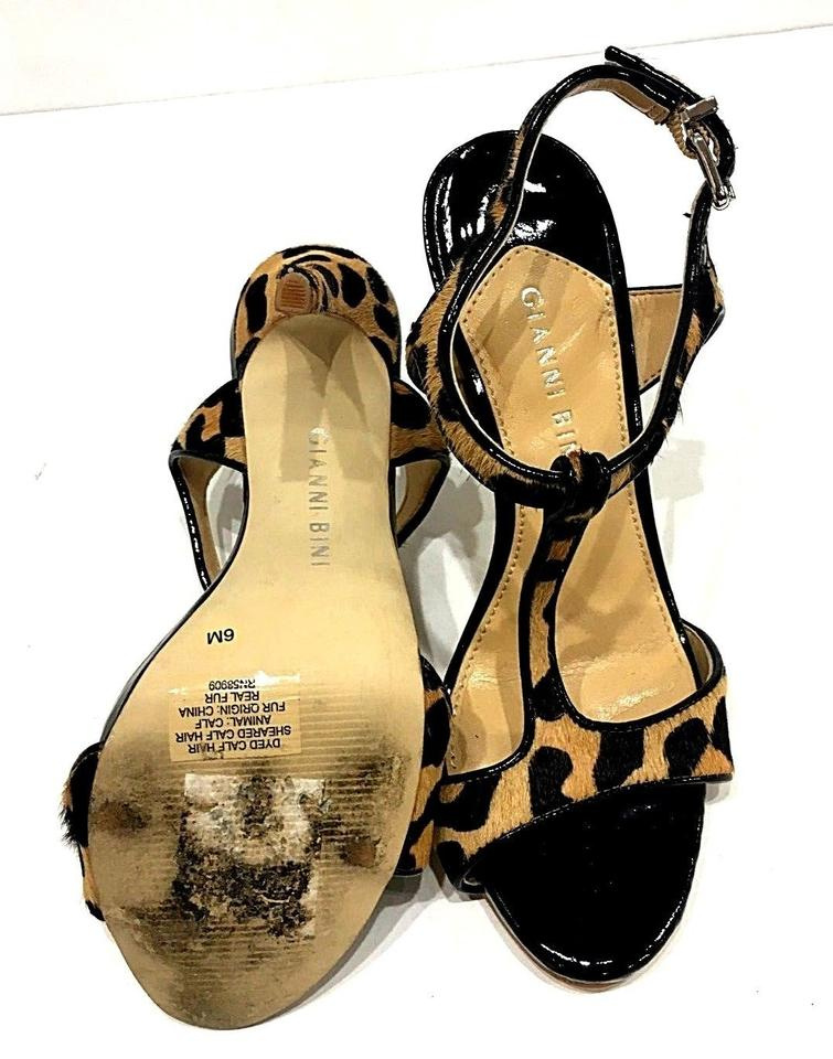 50ee34af57 Gianni Bini Patent Leather Leopard Cow Black Hair Heels T-strap 6 ...