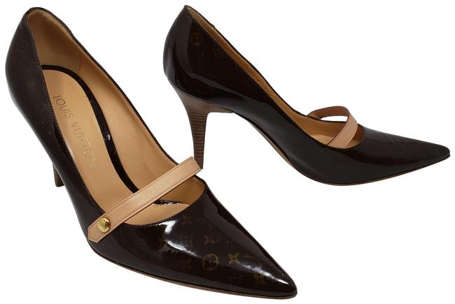 Item - Brown Patent Leather Lv Printe Pointed-toe Pumps Size EU 37.5 (Approx. US 7.5) Regular (M, B)