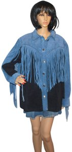 Bob Mackie Boho Fringe Suede Suede Black & Blue Leather Jacket
