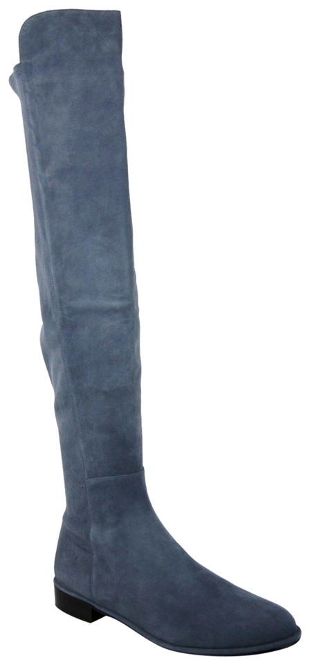 ba1946297a1 Stuart Weitzman Blue Denim Suede Allgood Low Heel Knee Boots Booties ...