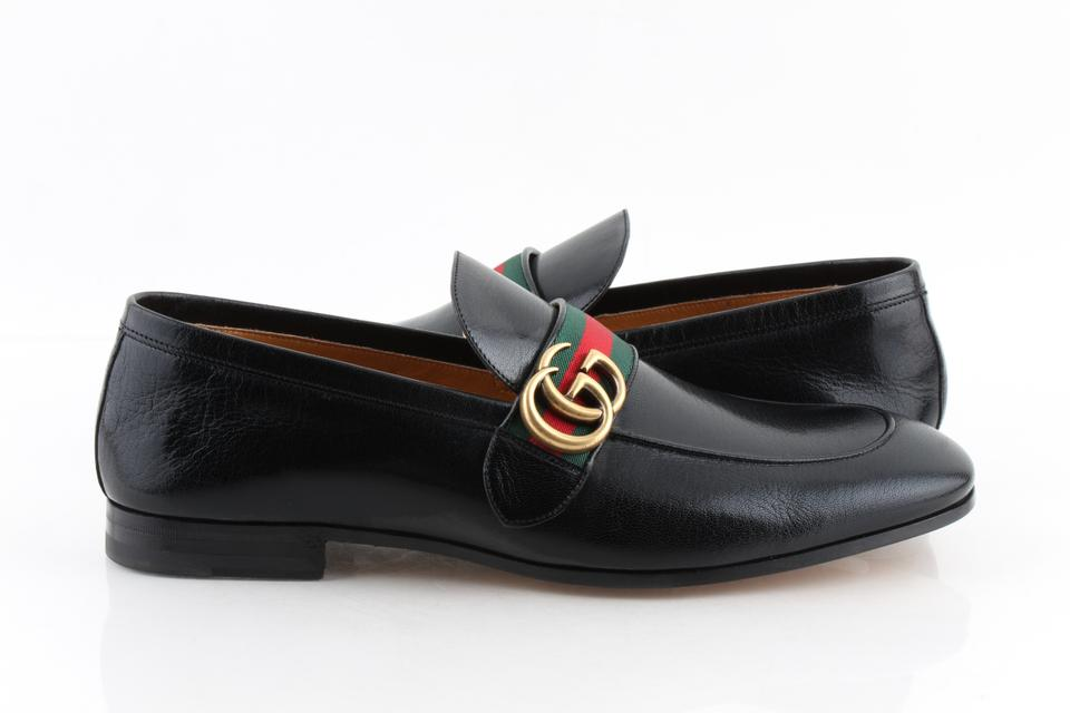 e2f2473e7450 Gucci Black Leather Loafers with Gg Web Shoes Image 0 ...