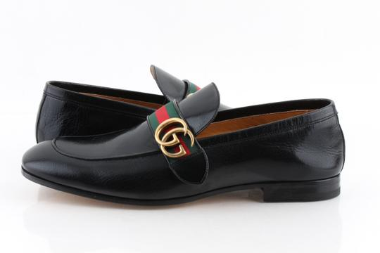Gucci Black Leather Loafers with Gg Web Shoes Image 1