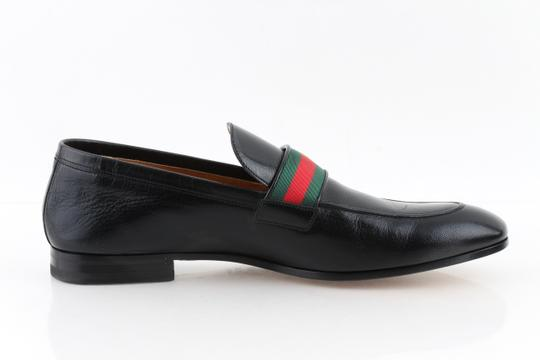 Gucci Black Leather Loafers with Gg Web Shoes Image 2