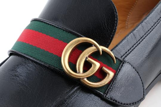 Gucci Black Leather Loafers with Gg Web Shoes Image 5