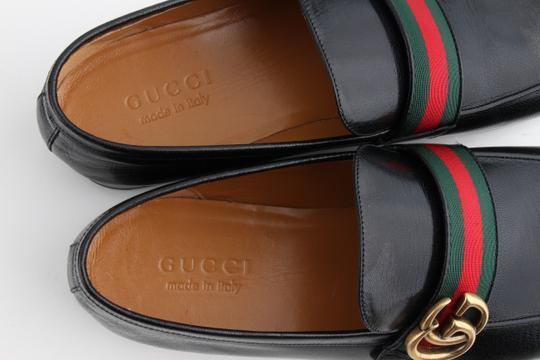 Gucci Black Leather Loafers with Gg Web Shoes Image 6