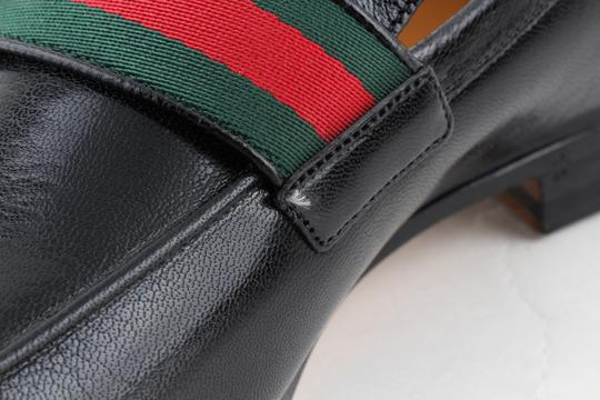 Gucci Black Leather Loafers with Gg Web Shoes Image 7