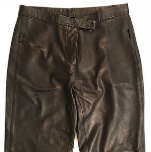 CoSTUME NATIONAL Leather Made In Italy Vintage Bohemian High End Boot Cut Pants black
