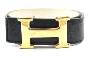 Hermès 32Mm classic gold H Reversible leather Belt Size 65