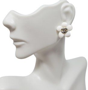 Chanel Silver-tone Chanel interlocking CC floral stud earrings