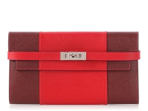 Hermès ROUGE CASAQUE AND ROUGE H EPSOM LEATHER KELLY FLAG WALLET