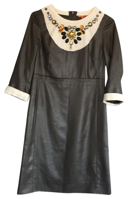 Item - Gray/Off-white Mid-length Night Out Dress Size 6 (S)