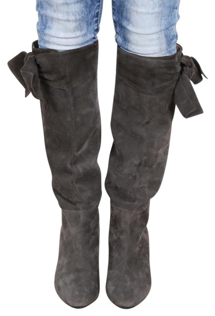 Item - Gray New Smooth Suede Bow Knee High Eu Boots/Booties Size US 10 Regular (M, B)