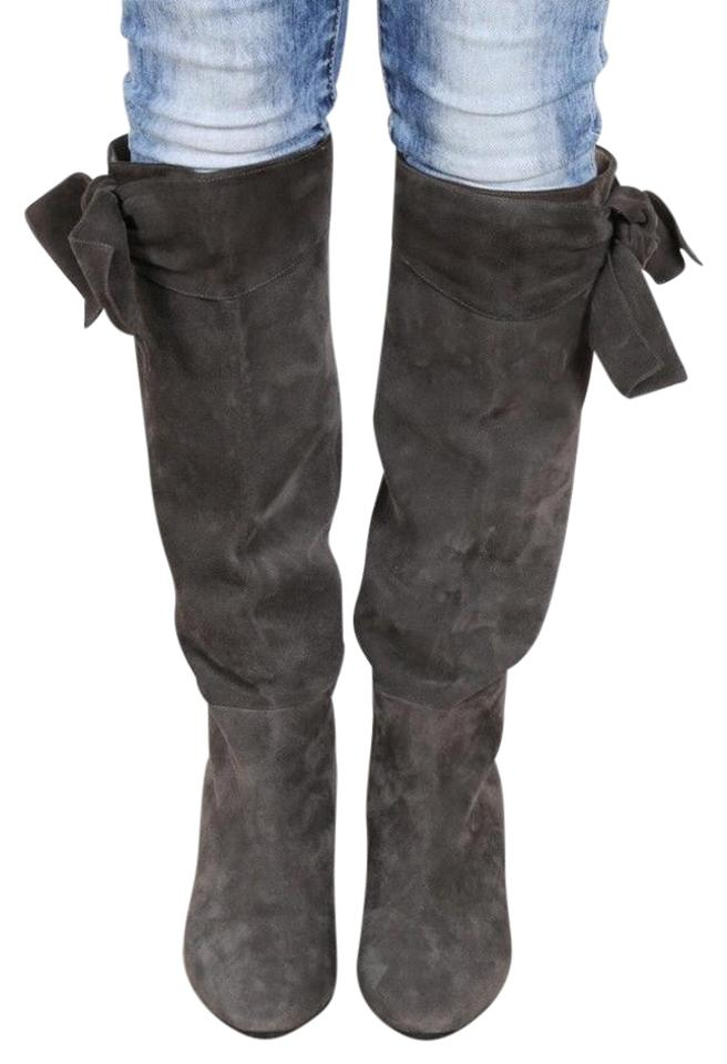 dfd68cf367e Valentino Gray New Smooth Suede Bow Knee High Eu Boots/Booties Size US 10  Regular (M, B) 49% off retail