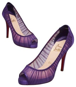christian louboutin Satin Heal Red Bottom purple Pumps