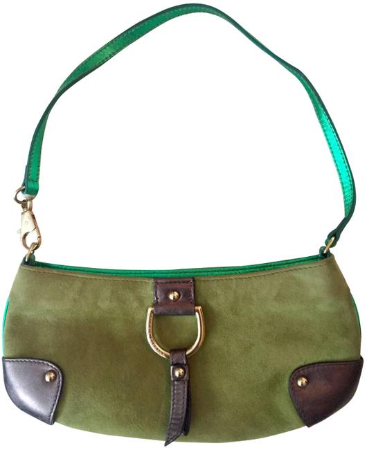 Item - And Convertible Green Bronze Gold Suede Leather Hardware Wristlet