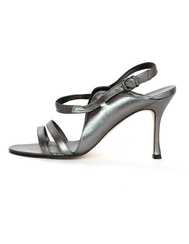 6124e8fb123 Manolo Blahnik Pewter Leather Strappy Sandals. Size  EU 37.5 (Approx. US 7.5)  Regular (M ...