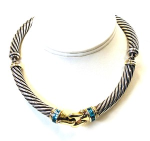 David Yurman David Yurman 14K & sterling silver Metro choker topaz necklace retired
