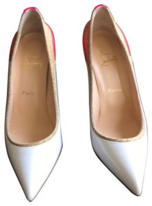 Christian Louboutin white with Hot Pink Heel & Gold Pumps