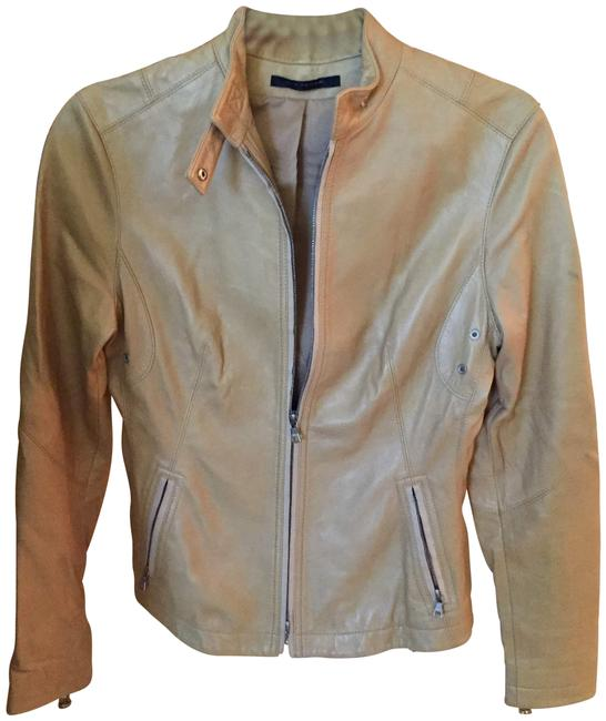 Item - Tan Fitted with Corseting Detail Jacket Size 4 (S)