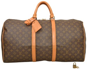 f0a2fcd4d328 Louis Vuitton Keepall Duffle 55 Carry On Luggage M41424 Brown ...