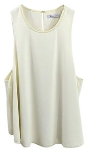T by Alexander Wang Leather Poyester Fall Winter Top IVORY/ OFF WHITE