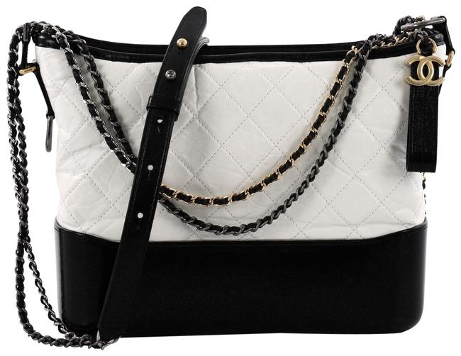Item - Gabrielle Quilted Aged Calfskin Medium White Leather Hobo Bag
