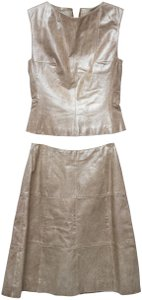 Chanel CHANEL Calfskin Leather Gold Beige Leather Skirt & Top