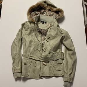 Forever 21 Eggshell Faux Toggle Floral Hooded tan Leather Jacket