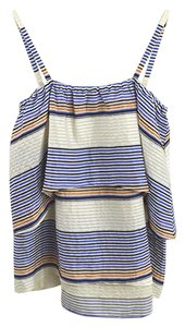 Tanya Taylor Striped Linen Cotton Summer Spring Top IVORY/ BLUE/ MULTI