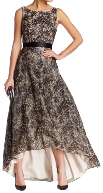 Item - Black Abs Belted Lace Hi-lo Gown S Mid-length Formal Dress Size 4 (S)