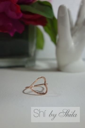 Shiekh 2 Rings - 1Rose Gold plated Open Heart Ring 1 yellow Gold plated Image 2