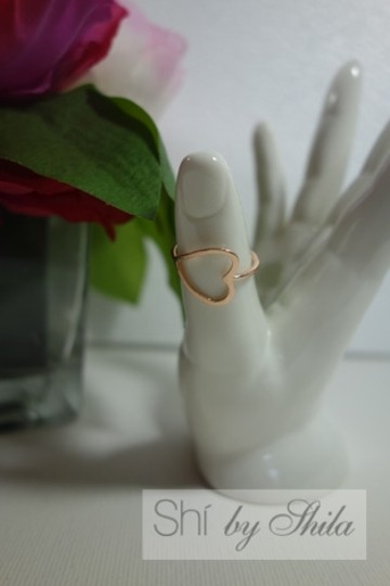 Shiekh 2 Rings - 1Rose Gold plated Open Heart Ring 1 yellow Gold plated Image 4