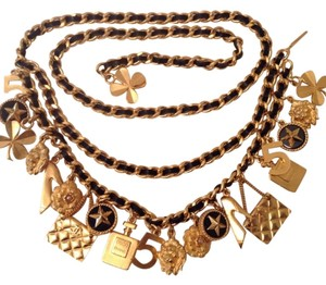 Chanel CHANEL FAMOUS GOLD PLATED BLACK LEATHER ICONIC CHARMS BELT / NECKLACE