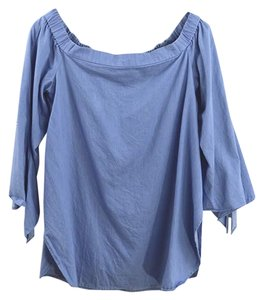 ddcbef8329572 Tibi Cotton Sring Fall Casual Night Out Top CHAMBRAY BLUE