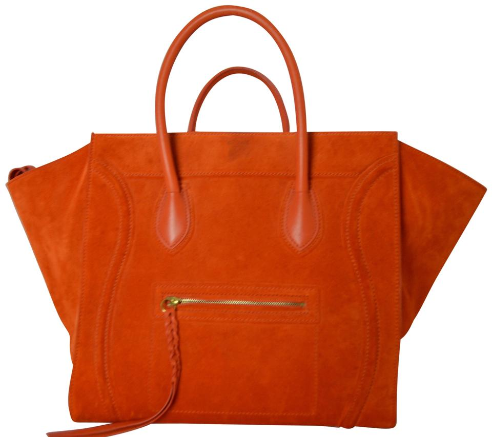 1d25aca829 Céline Luggage Phantom Orange Suede Leather Shoulder Bag - Tradesy