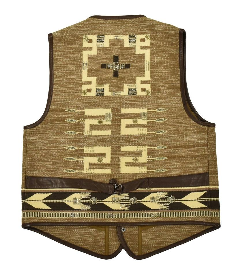 5c9399f57953 Ralph Lauren Collection Brown Purple Label Western Indian Leather New Vest