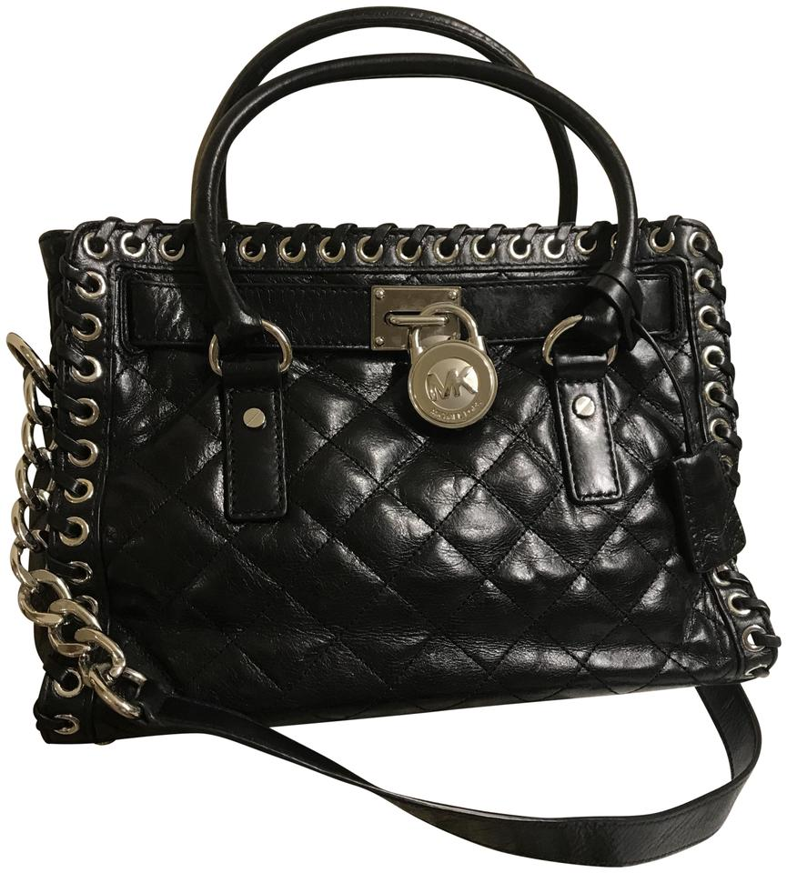 a75842d446a8 Michael Kors Hamilton East West Hippie Grommet Quilted Whipped Black  Leather Satchel