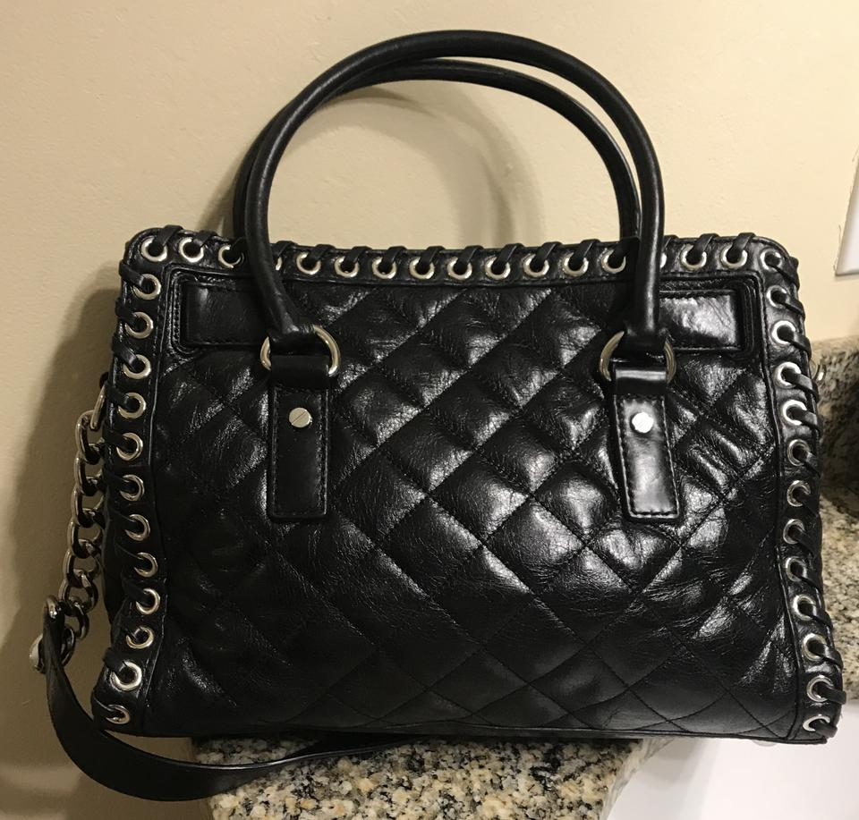 3f91f4f002eb Michael Kors Hamilton East West Hippie Grommet Quilted Whipped Black  Leather Satchel - Tradesy