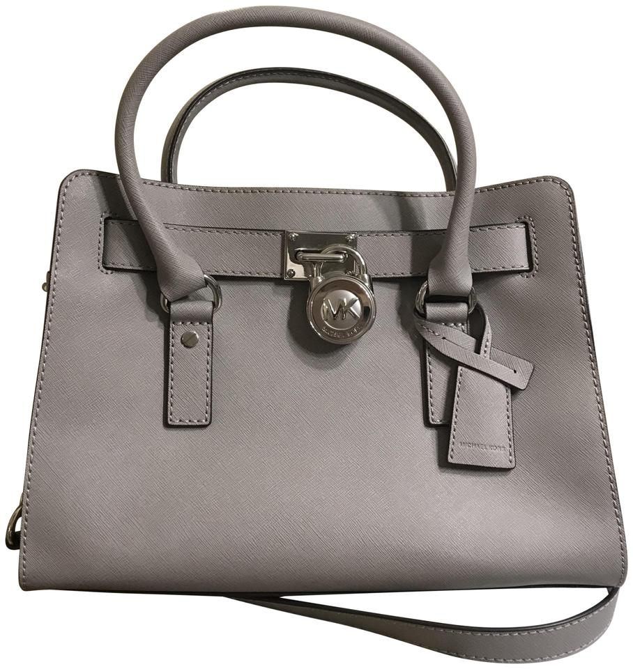 Michael Kors East West Hamilton Medium Convertible Pearl Grey Saffiano Leather Satchel 32% off retail