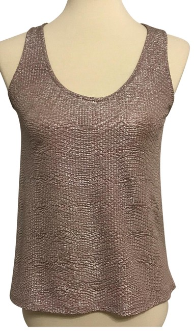 Item - Taupe Silver Metallic Lace Cut Blouse Size 4 (S)