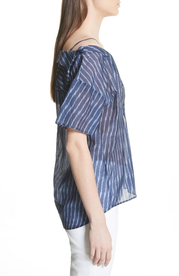 07a7db27fe3cf Theory Blue Tamalee Cold Shoulder Striped Blouse Size 8 (M) - Tradesy