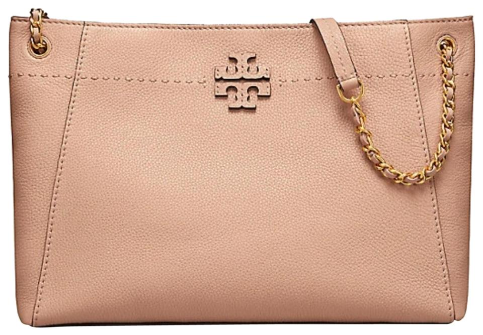 3bd2c227caa Tory Burch Mcgraw Chain Shoulder Slouchy Devon Sand Pebbled Leather Tote