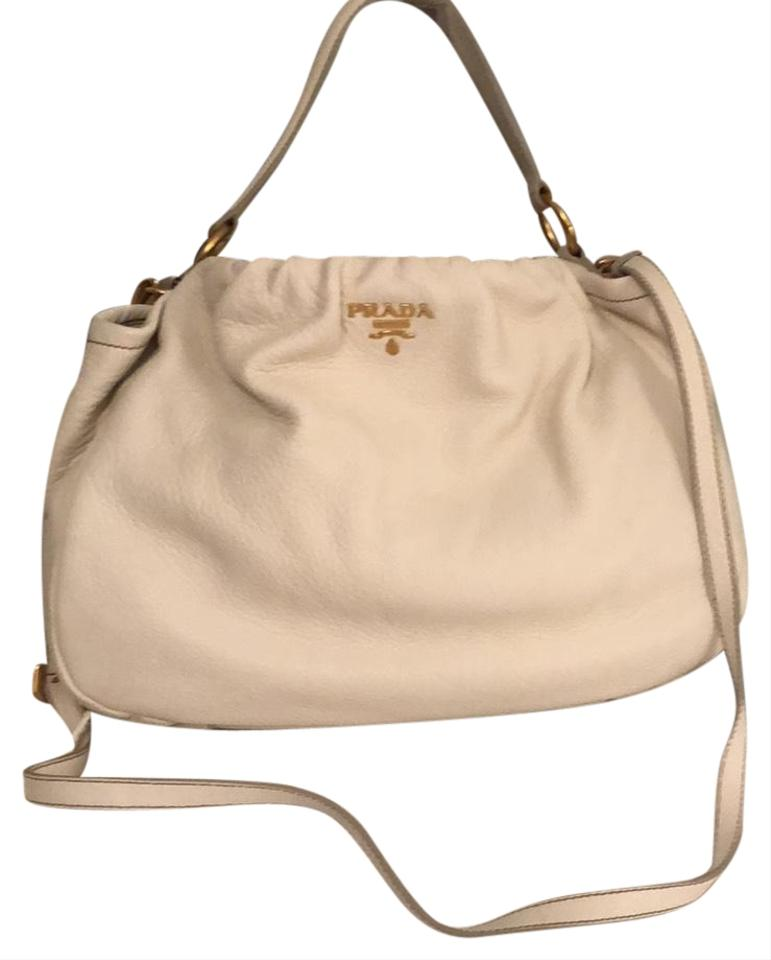 8d512753d68b Prada Gold Hardware with A Detachable Strap White Deerskin Leather Hobo Bag