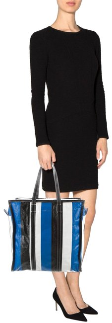 Item - Bazar Medium Blue White Black Lambskin Leather Tote