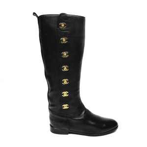 Chanel Riding Leather black Boots