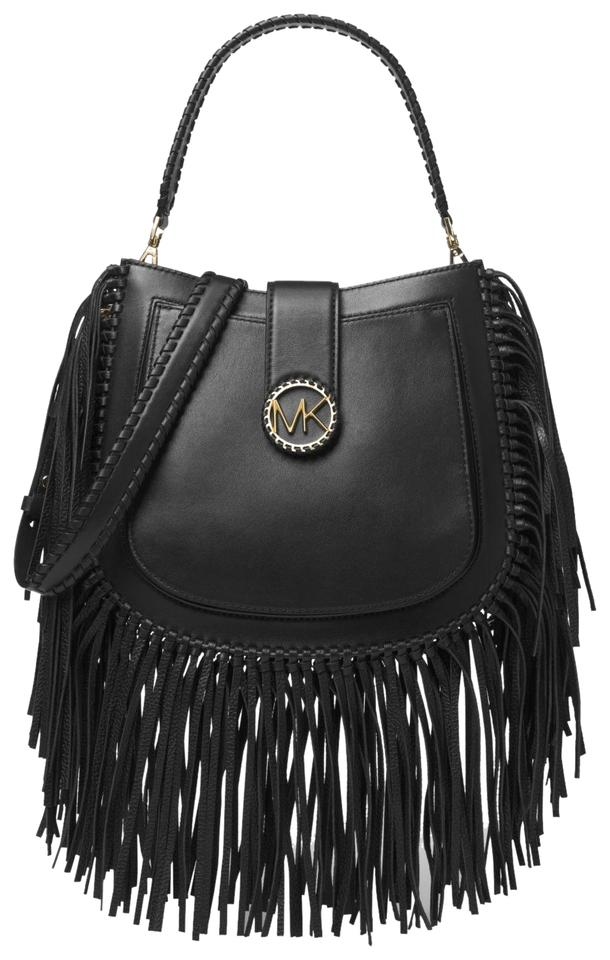 e427849a7435 Michael Kors Lillie Medium Fringed 30f8g0lm6t Black Leather Shoulder ...